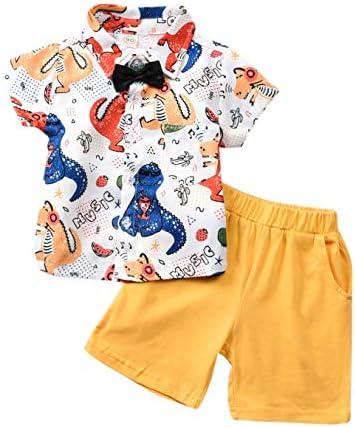 Conjunto de pantalones cortos para bebé, verano con estampado de caballero, camiseta de manga corta y pantalones cortos tejidos, juego de 2 piezas ...