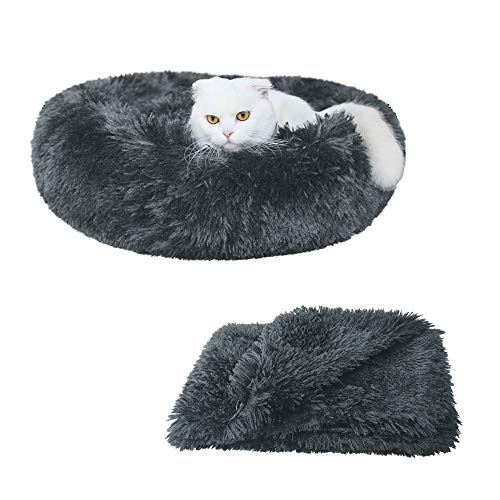 """Patas Lague 2-Piece Donut Calming Dog Bed Set (1 Bed, 1 Blanket), Faux Fur Plush Cat Pet Bed, Comfortable and Washable(20""""/24""""/30"""")"""