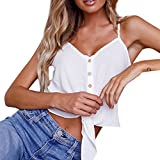 Crop Top Women Button Sleeveless Blouse Casual Tie Knot Tank Shirt Camisole Vest Tankinis Cardigan Tees Bikinis White