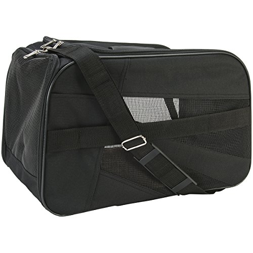 pet-smart-cart-carrier-small-black-soft-sided-collapsible-folding-travel-bag-dog-cat-airline-approve