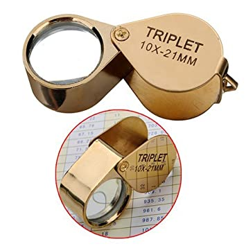 10X-21MM 10X Mini Folding Jewelry Eye Glass Loupe Portable Magnifying Glass Pocket Handhold Tools Metal Body Golden for Jewelry Coins Stamps Inspecting