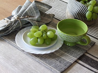 Linenme Chemin de table en lin collection Provence 1 unit/é Noir 50x128 cm