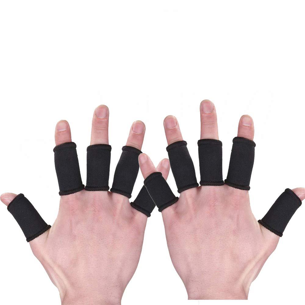 Xeminor Elastic Finger Sleeve Cover Nylon Finger Protector Sleeve Support Stretchy Protection Gloves Finger Guard for Outdoor Sports Black 10 Pcs by Xeminor (Image #1)