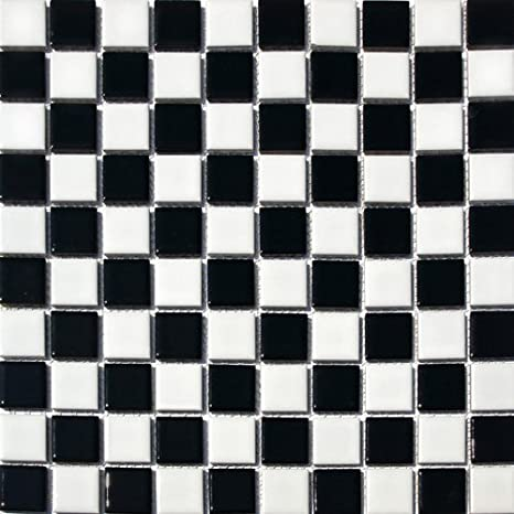 Vogue Square Checkered Tile Black White Porcelain Mosaic Shiny Look Designed In Italy 12x12
