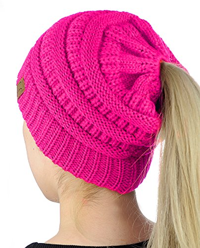 C.C BeanieTail Soft Stretch Cable Knit Messy High Bun Ponytail Beanie Hat, Neon Hot - Pink Knit Beanie