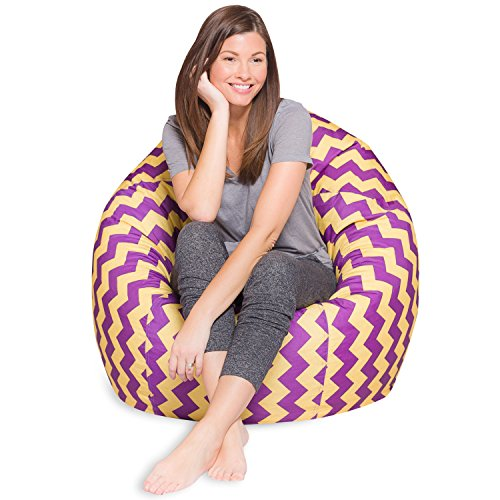 Big Comfy Bean Bag Chair: Posh Large Beanbag Chairs with Removable Cover for Kids, Teens and Adults - Polyester Cloth Puff Sack Lounger Furniture for All Ages - 35 Inch - Chevron Purple and Yellow
