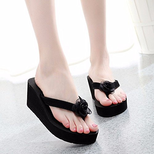 Black bottom beach fashion flower fashion flip cool thick XZ shoes slippers LIUXINDA and sand flops British Wear OqWa7HX0