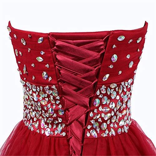 Rojo Vestido Pequeña Mujer Con De Us16 Abalorios Corto color Colección Tamaño Fengbingl Top Tubo pqCgRww