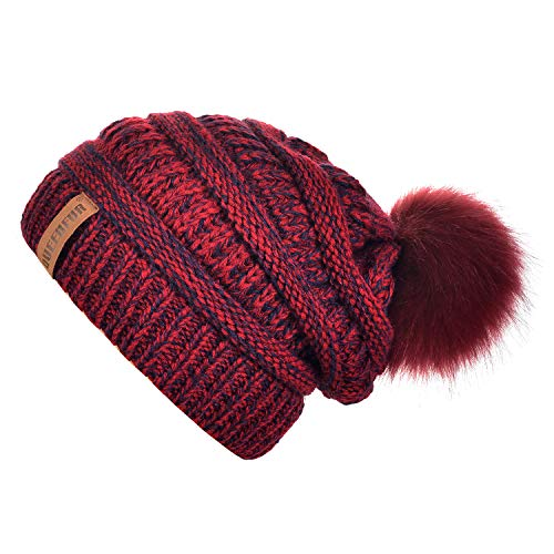 QUEENFUR Women Knit Slouchy Beanie Chunky Baggy Hat with Faux Fur Pompom Winter Soft Warm Ski ()