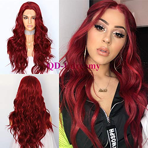 QD-Udreamy Synthetic Lace Front Wig Natural Wavy Red