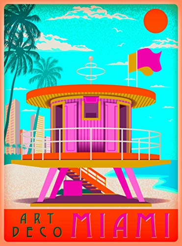 A SLICE IN TIME Art Deco Miami Beach Florida Sunny Day United States Retro Travel Home Collectible Wall Decor Advertisement Art Poster Print. 10 x 13.5 inches