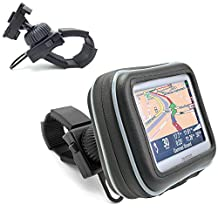 "ChargerCity Water Resistant XL GPS Bike Motorcycle Handle Bar Mount (up to 1.5"" Handle Bar) for 5"" Garmin Nuvi 1450 1490 2450 2460 2557 2577 2597 3597 50 52 54 LM LMT TOMTOM GO 2505 2535 1535 LIVE Start 55 50 45 XXL 530 535 540 550 TM GPS Navigators"
