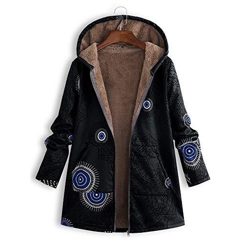 pluche Fashionworld bedrukt maat kap Vintage met jas jas Opgevulde katoen voor rits lange jas zwart Women grote OpBqrO