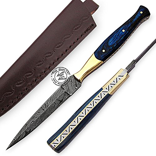 - Beautiful Blue Wood Damascus Slim Dagger Hunting Knife, Double Edge Prime Quality