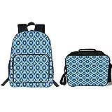 iPrint 19' School Backpack & Lunch Bag Bundle,Blue,Retro Pattern with Grunge Look Classical Revival Tile Design Nested Ring Shapes,Blue Light Blue,for Boys Girls