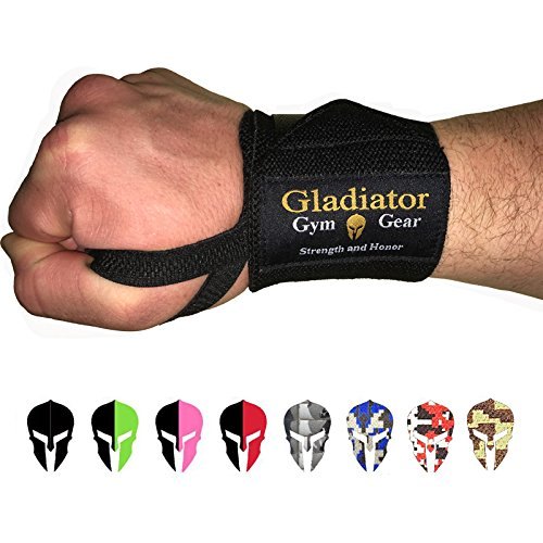 - GLADIATOR GYM GEAR Wrist Wraps for Weight Lifting - Support & Protection for Power Lifting Cross Training & Bodybuilding G3 Lifting Wrist Strap - The Ultimate Power WRAP for Men and Women (Black)