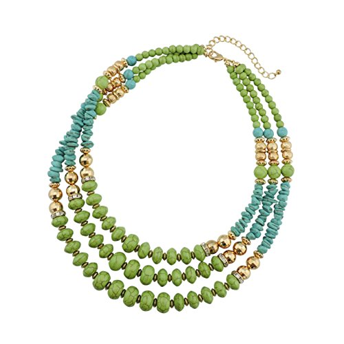 Bocar Statement 3 Strand Turquoise Colorful Chunky Necklace for Women Gifts (Strand Chain Link)