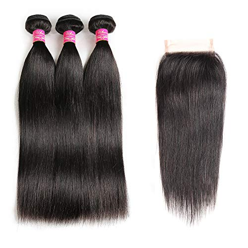 Brazilian Straight Hair With Closure 3 Bundles Unprocessed Virgin Human Hair Bundles With Lace Closure Free Part Hair Extensions Natural Color (10 12 14+10