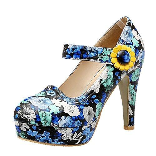 Mee Shoes Women's Fashion High Heel Ankle Strap Platform Print Court Shoes Blue 6M56sfueVx