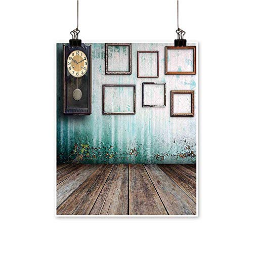 Modern Painting A Vintage Clock and Empty Picture Frames in an Old Room Wooden Backdrop Bedroom Office Wall Art Home,24