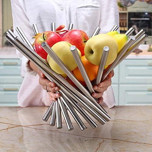 (Finedayqi  Stainless Steel Fruit Basket Creative Fashion Fruit Plate)