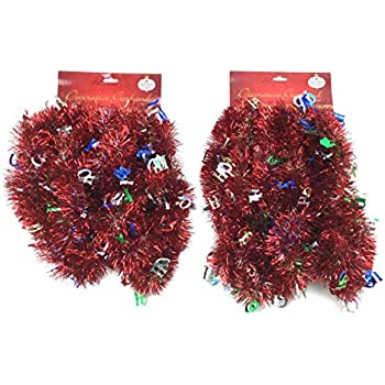 Holiday Crafts (TM) Set of 2 Decorative Christmas Garland 15 Ft.- Total of 30 Feet! Great for Trees, Stairways, Walls, Ceilings, Windows and More! (15 Feet, Red with Ho Ho)