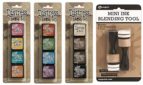 - Ranger Tim Holtz Distress Mini Ink Pad Kits 1, 2, 3 and Mini Ink Blending Tool Bundle