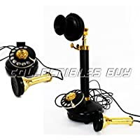 Classy Old Design Roatary Dial Candle Stiick Phone Black