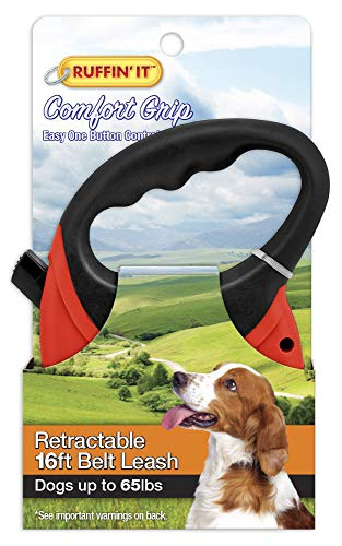 (RUFFIN' IT Comfort Grip Retractable Leash, 16' Belt, for Dogsup to 65Lbs)