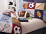 Team Sport 3-Piece Comforter Set Sports Bedding, Collegiate,Teen, Boys, Double Brushed Fabric, Football Shaped Decorative Pillow Included, Extra Soft, TwinSize, Blue/Green/Tan