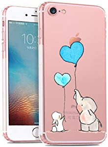 iPhone 6 Plus / 6s Plus Case,Cute Novelty Animal Pattern on Soft TPU Silicone Protective Skin Ultra Slim & Clear with Unique Design Gift Bumper Back Cover for 6/6s Plus,Elephant & Bunny
