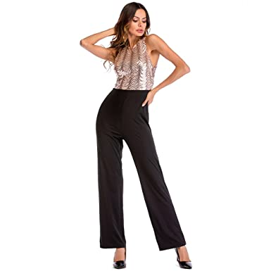 c020fafda7 Kumono Women s Sexy Glitter Sequins Sleeveless Backless High Waist Jumpsuits  Romper