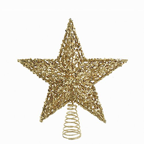 Bundle Pack of 6, Kurt Adler 13-Inch Plastic Gold Glitter Star Treetop