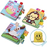 JUOIFIP Soft Baby Cloth Activity Crinkle Book Set Fabric Non-Toxic Early Education Toys Shower Gifts for Boy & Girl Toddler, Infants (3 Pack)