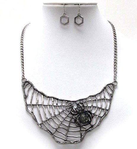 Silver Insanity Halloween Black Widow Spider Witch Necklace - Large & Unique Bib Necklace and Earring Set -