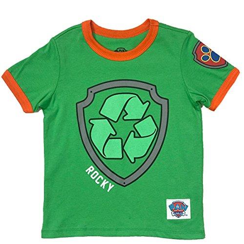 Nickelodeon Paw Patrol Ringer T- Shirt: Chase, Marshall, Rocky, Rubble, Zuma,Sky, Everest (Rocky, 5T)
