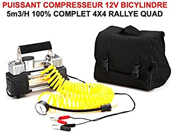 Potente compresor de 12 V bicilíndrico 12 V 5 m3/h, compacto y fácil de encajar Bolsa y accesorios incluidos. Preparación de raides 4x4.
