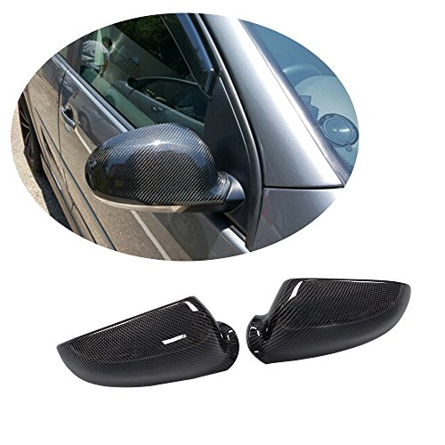MCARCAR KIT For Volkswagen VW Golf V GTI MK5 R32 GTI Jetta MK5 Passat VB6 2006-2009 Factory CNC Moulding Carbon Fiber Top-fit Rearview Mirror Covers Replacement Side Caps