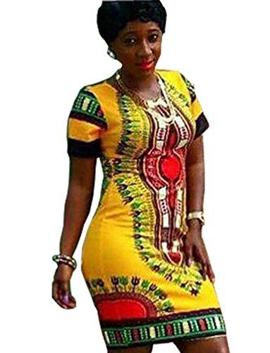 Corte Dashiki Giallo Tradizionale Maniche Donna Bodycon Africano Stampato Yuncai Vestito Swtpnq00