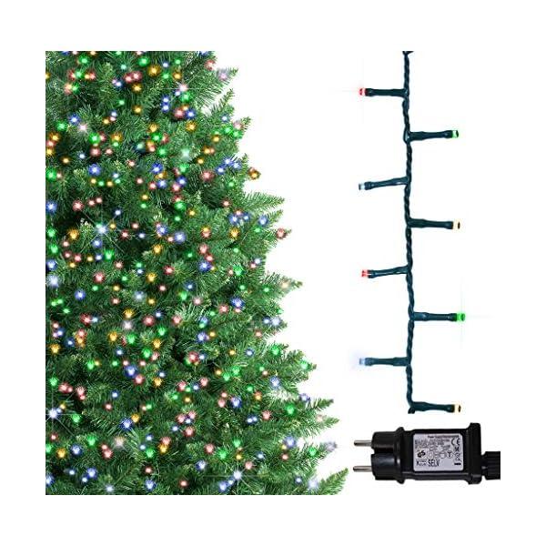 ANSIO Luci natalizie per interni e esterno 1000 LED albero luci Multi Colore, 8 modalità con memoria e funzione timer, alimentate, trasformatore incluso 25m Lunghezza illuminata- CAVO VERDE 1 spesavip