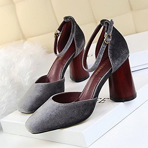 LGK&FA Chaussures Chaussures À Talons Hauts Avec Des Chaussures En Daim Boucle Mot Creux 38 grey vpmifDHLa