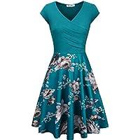 kasclino Vestido Floral Impreso de la mujer, una línea Cap Sleeve V-Neck elegante vestido con bolsillos