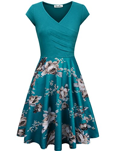 V-neck Cap Print (KASCLINO Ball Midi Dress, Women's Floral Print V-Neck Knee Length Fashion Bodycon Banque Blue XXL)