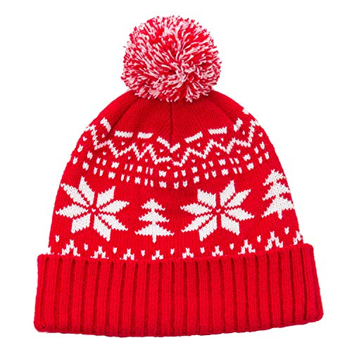 Winter Pom Snowflake Beanie - Stay Warm & Stylish - Knit Beanie Caps for Women & Men Red and White