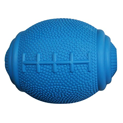PlayfulSpirit Tricky Treat Rugby Ball: Dog Treat Dispenser - Awesome Anxiety Reliever and Boredom Breaker, Fun Fetch and Basic Puppy Training Toy (Large, Blue)