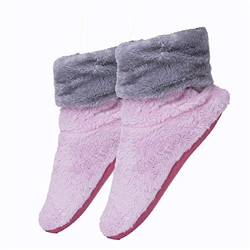 Fralosha women's indoor anti slip shoes ladies winter home soft plush boots Pink MJF3Uejl
