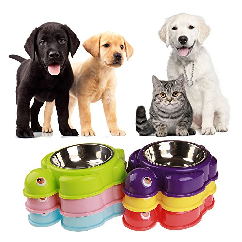 - Pet Bowls, Sacow Stainless Steel Plastic Mat Dog Bowl Cat Food Non-Skid Bowl Single Bowl Pet Safety Cartoon Turtle Bowl (Red)