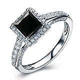 Princess Cut Black Diamond Engagement Ring 14k White Gold Yellow Gold Rose Gold or Platinum Art Deco Design Natural Black Diamond Ring HANDMADE Anniversary Ring