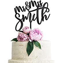 Personalized Wedding Cake Topper Customized Mr. and Mrs. Last Name 4 Color Type and 24 Colors Design 3 (Solid Colors)