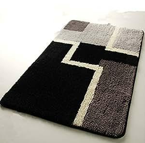 Luk Oil Black and White Non-slip Mats Kitchen-slip Mats Door Carpet Bedroom Doormat (50cmX80cm)